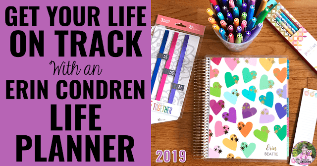"Image of planner and accessories with text, ""Get Your Life On Track With An Erin Condren Life Planner."""