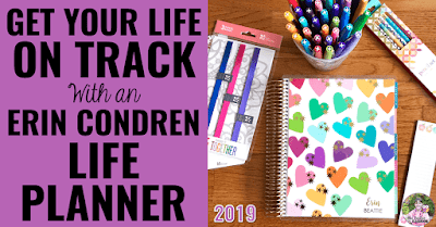 "Image of Life Planner with text, ""Get Your Life On Track With an Erin Condren Life Planner."""