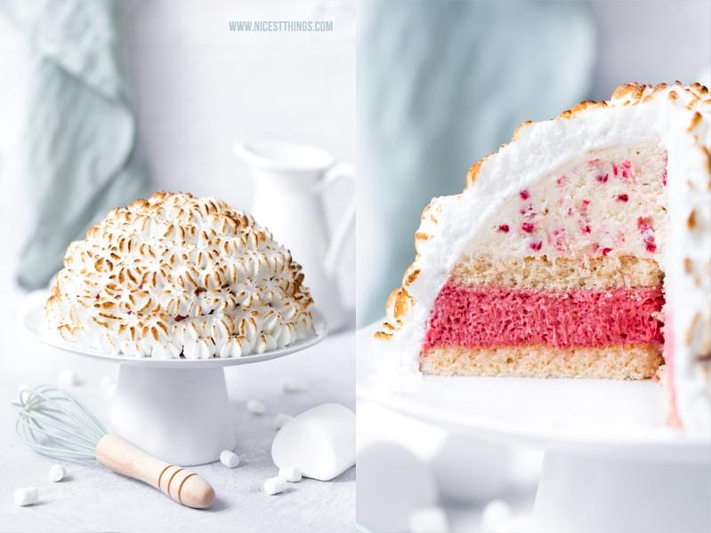 Rezept Baked Alaska Eisbombe Rhabarber Erdbeere Marshmallow
