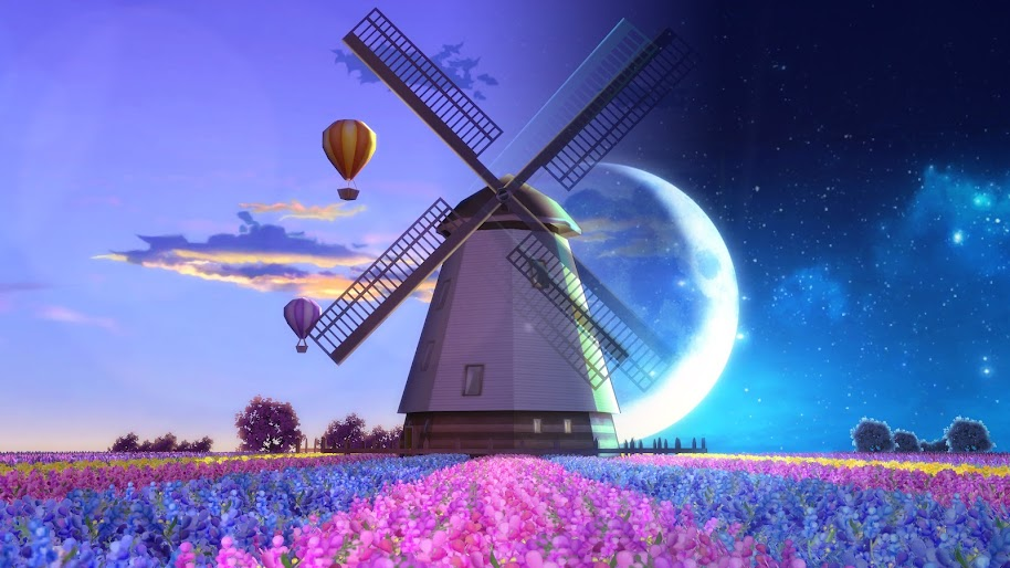 Windmill, Flowers, Moon, Night, Nature, Landscape, Flowers, 4K, #177