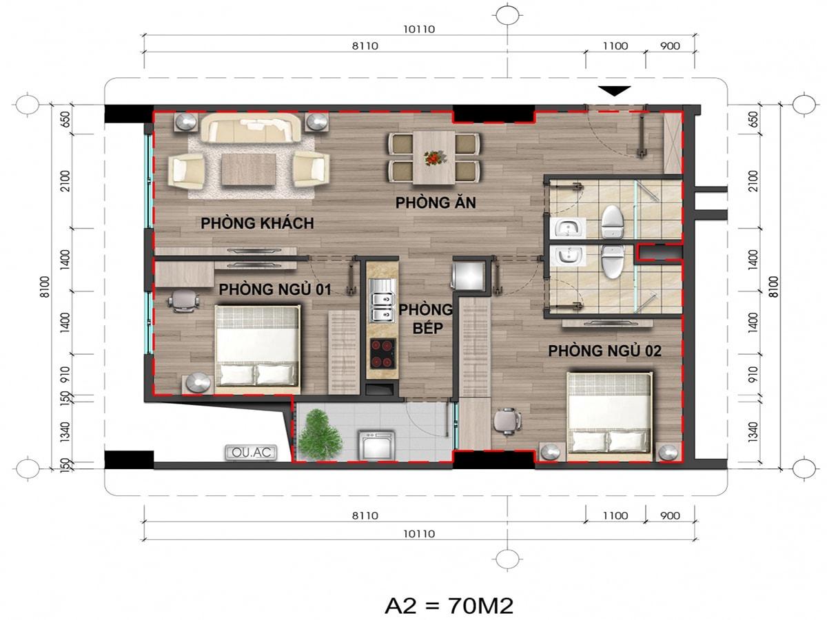 Mặt bằng căn hộ loại A2