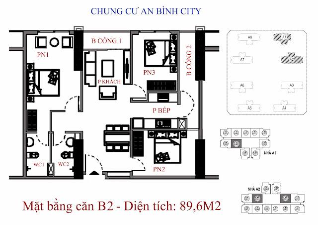 mặt bằng căn hộ b2 - Diện tích 89,6m2