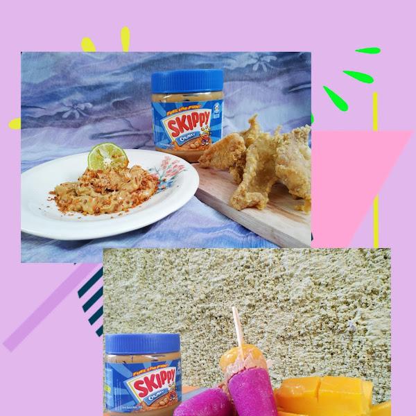 Kulit Ayam Krispy Saus Skippy Asam Pedas dan Ice Cream Buah Skippy Chunky