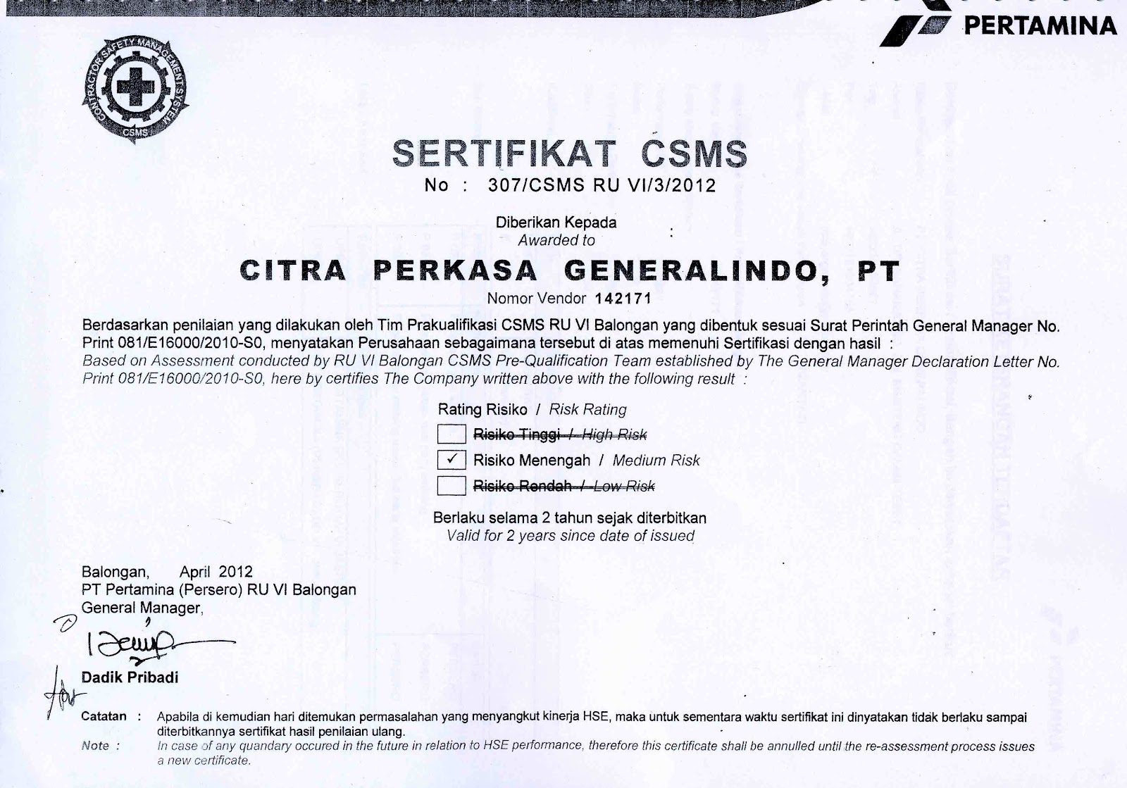 Vuln Pertamina Official Site: Official Website PT.Citra Perkasa Generalindo ::..: Partner