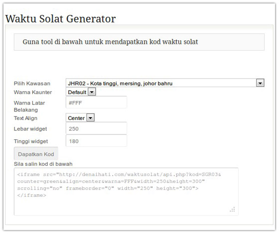 Code Generator Waktu Solat