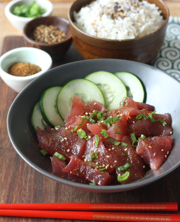 Tuna poke with Japanese Seven Spice by SeasonWithSpice.com