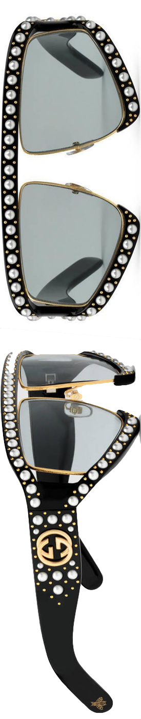 35f11bc83fc Gucci Black Rectangular-frame Acetate Sunglasses With Pearl