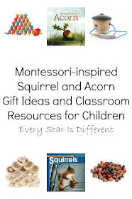 Montessori-inspired Squirrel and Acorn Gift Ideas and Classroom Resources for Children
