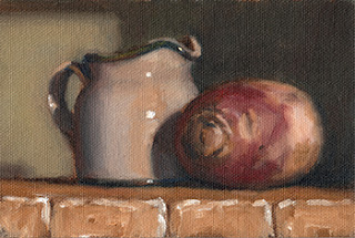 Oil painting of a turnip beside a small white porcelain milk jug.