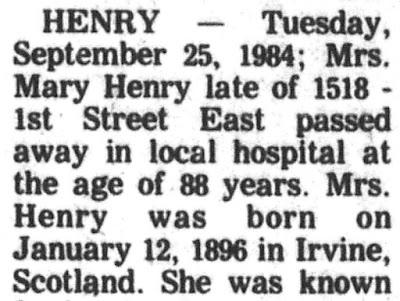 """Deaths - Henry,"" (Prince Albert)Prince Albert Daily Herald, 27 Sep 1984, p. 13, col. 5."