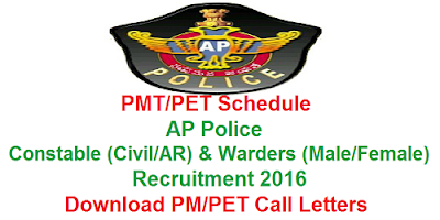 AP PCs & Warders PMT/PET Call letters 2016