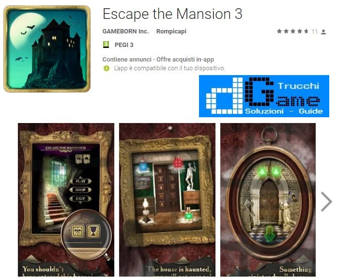 Soluzioni Escape the Mansion 3