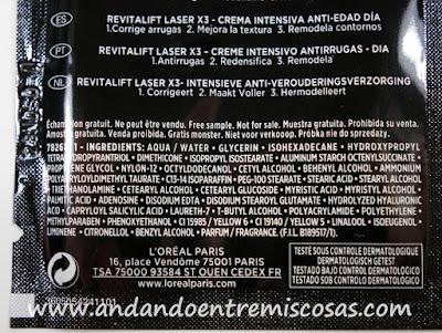 Revitalift Laser X3 De L´Oréal, Crema Intensiva Día, ingredientes