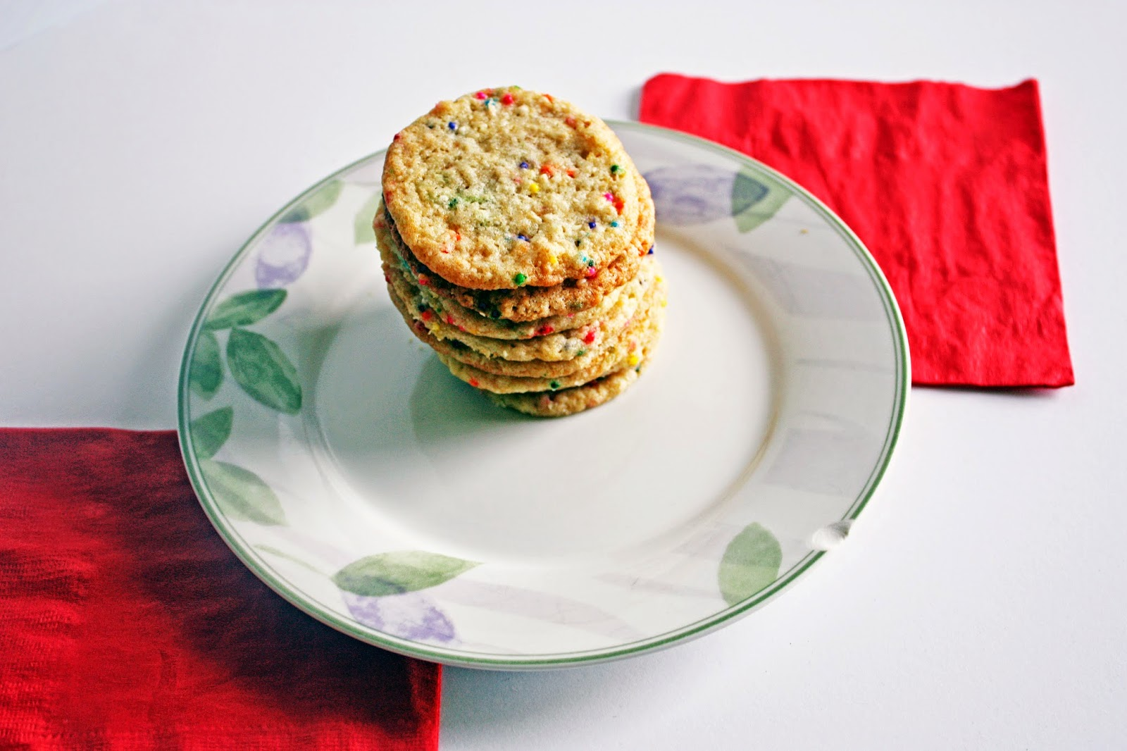 momofuku inspired vegan confetti cookies red napkin