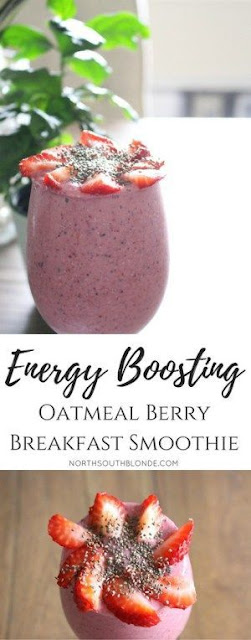 Energy Boosting Oatmeal Berry Breakfast Smoothie