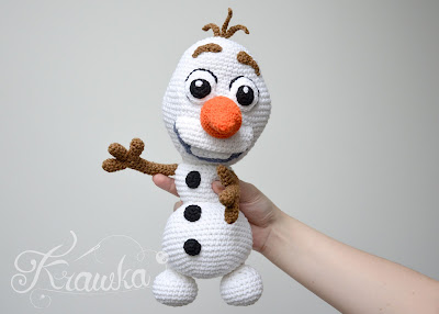 Krawka: crochet snowman Olaf from Disney Frozen crochet pattern instructions plush by Krawka