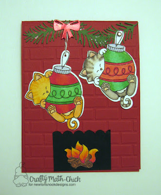 Kitties Clinging to Dangling Ornaments over Fireplace card by Crafty Math Chick | Ornamental Newton stamp set & dies, Campfire Tails stamp set, and Pines & Holly die set by Newton's Nook Designs