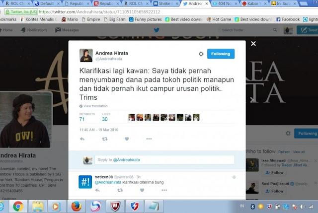 Andrea Hirata Bantah Telah Kirim Surat Ke Ahok