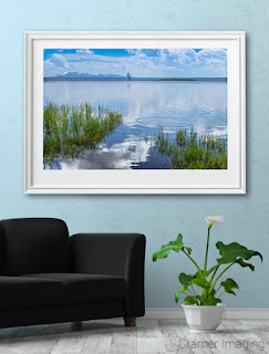 Photograph of Cramer Imaging's fine art photograph 'Tranquility' on the wall of a room with a couch and lily flower