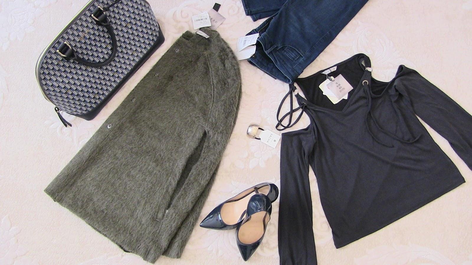 oxxo yeşil mont - ceket, oxxo mavi kot pantolon, guess çanta, oxxo beyaz boğazlı triko