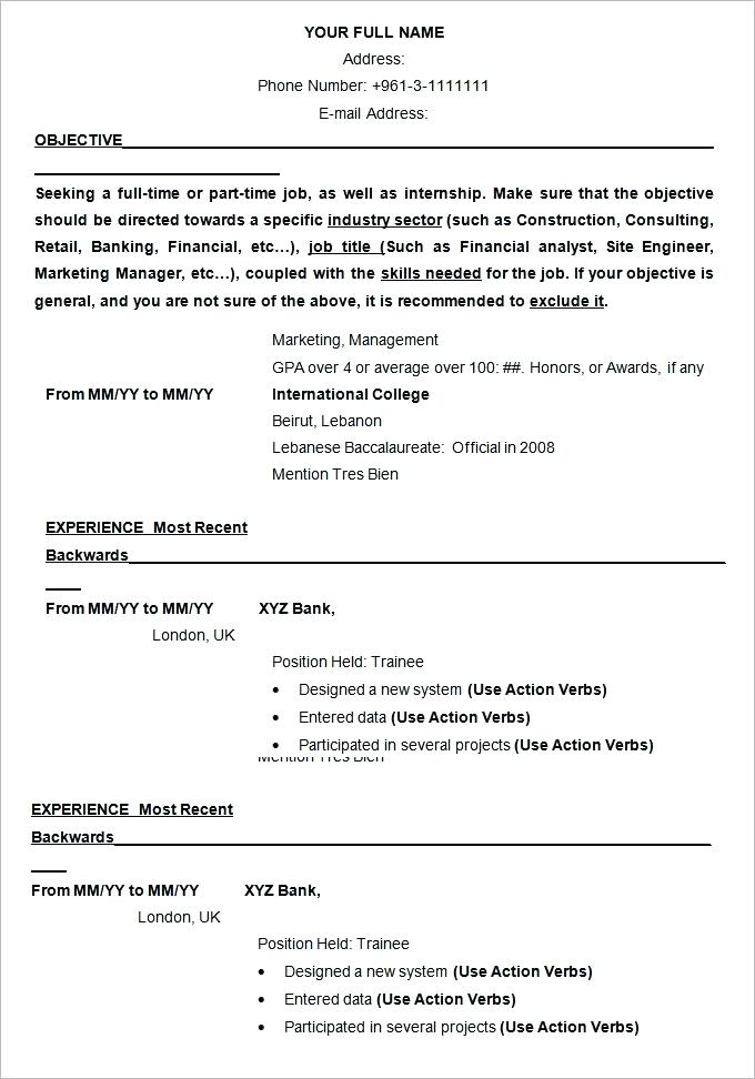 Resume Structure Examples Template Example Cv Layout 2019
