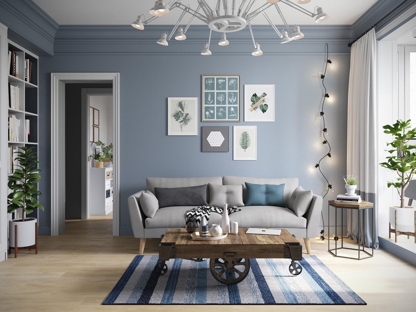 Albastru, alb și gri într-un proiect de amenajare modern pentru un apartament de 97 m² din Sankt Petersburg