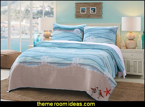 Maui Cotton Quilt Set  seaside cottage decorating ideas - coastal living living room ideas - beach cottage coastal living style decorating ideas - beach house decor - seashell decor - nautical bedroom furniture