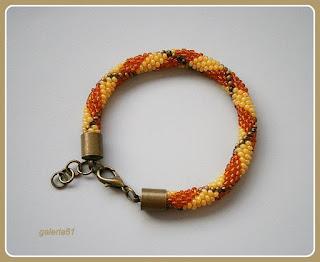 sznur szydełkowo koralikowy, naszyjnik i bransoletka, żółty i pomarańczowy