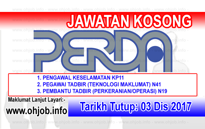 Jawatan Kerja Kosong PERDA - Lembaga Kemajuan Wilayah Pulau Pinang logo www.ohjob.info disember 2017