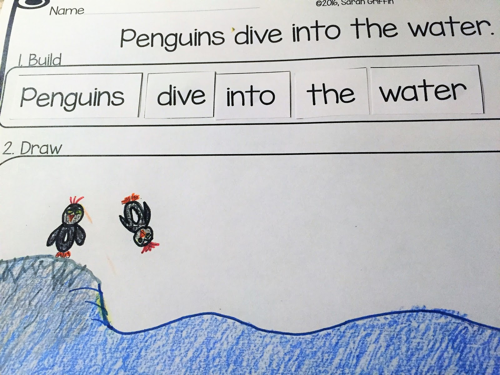 Daughters And Kindergarten Penguin Facts And Writing Center