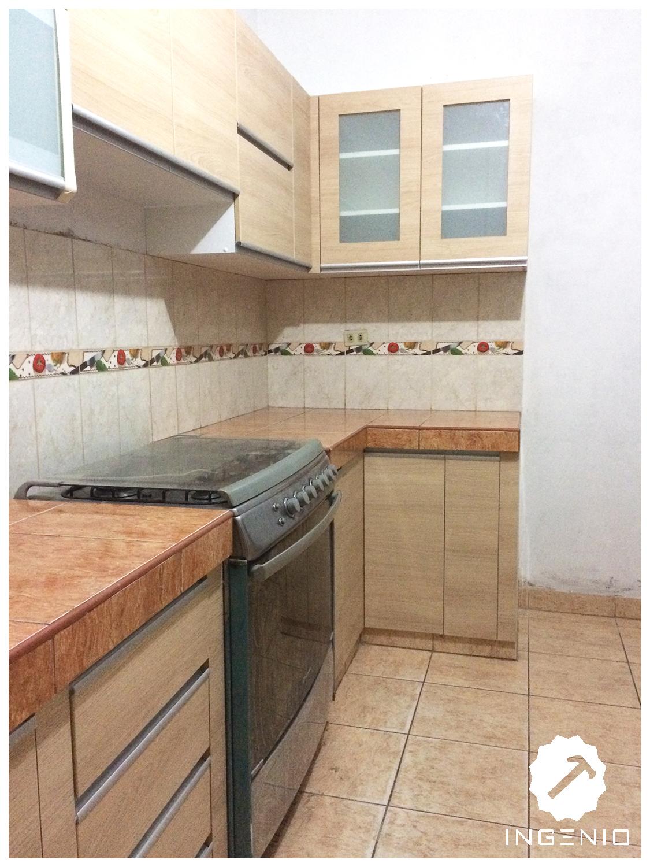 Mueble cocina en melamina carvalo for Ubicacion de cocina