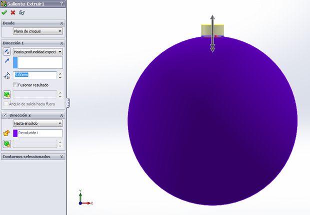 extrusión bola de navidad con solidworks