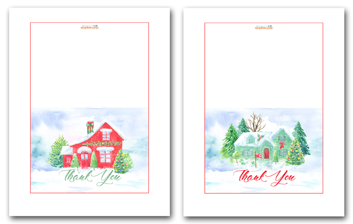 Printable Christmas Thank You Cards