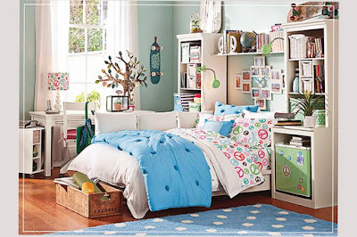 Bedroom Paint Designs For Teenage Girls With With Spots Wallpaper Blue and White Color Pic