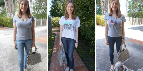 Grey tees and jeans with rebecca minkoff mini MAB Bag | away from the blue blog