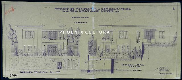 Projeto de uma residência à rua Graciano Neves, Centro, Vitória, ES, novembro/1933.