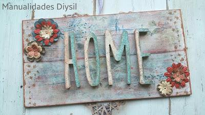 Letrero madera HOME con pintura y decoupage