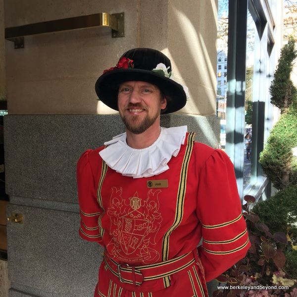 Beefeater doorman at The Heathman Hotel in Portland, Oregon
