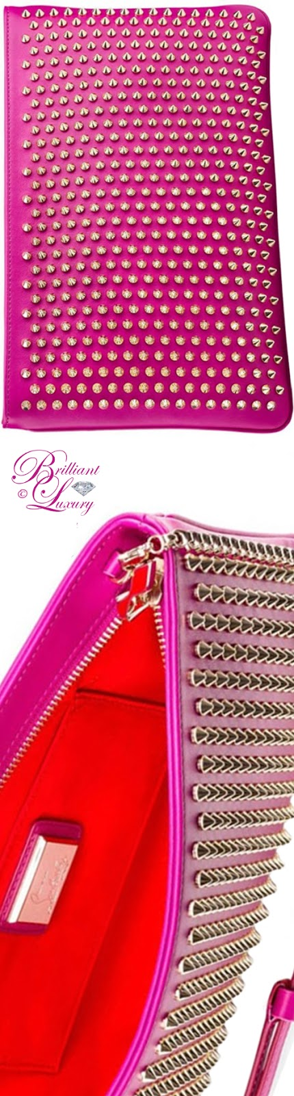 Brilliant Luxury ♦ Christian Louboutin studded Loubiposh clutch