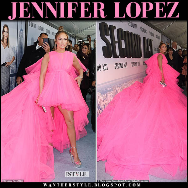 Jennifer Lopez in bright pink chiffon gown giambattista valli red carpet look second act december 12