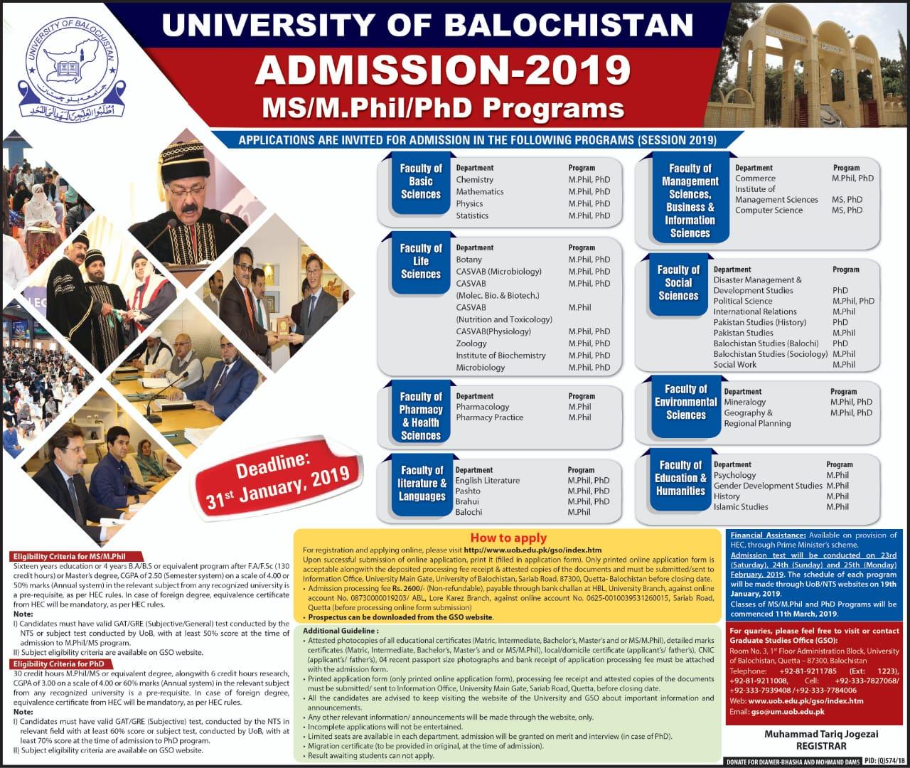 Admission 2019 in MS/M Phil & PhD Programs UoB Quetta, - Education
