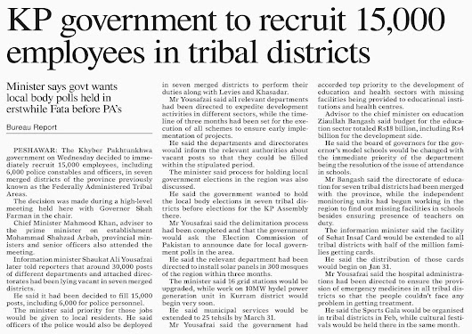 15 Thousand new jobs (Coming soon) for newly merged tribal districts (Former FATA)