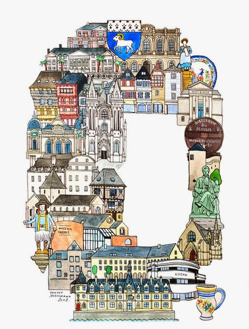 17-Q-Quimper-France-Hugo-Yoshikawa-Illustrated-Architectural-Alphabet-City-Typography-www-designstack-co