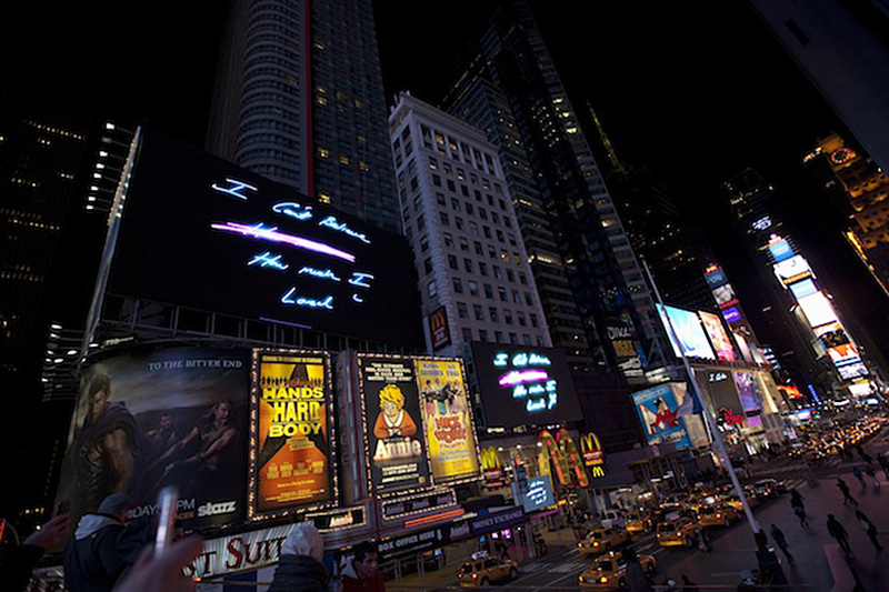 artist Tracey Emin takes over Times Square with neon art