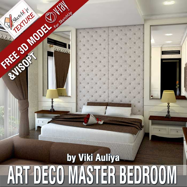 Free sketchup 3d model Art Deco master bedroom by Viki Auliya