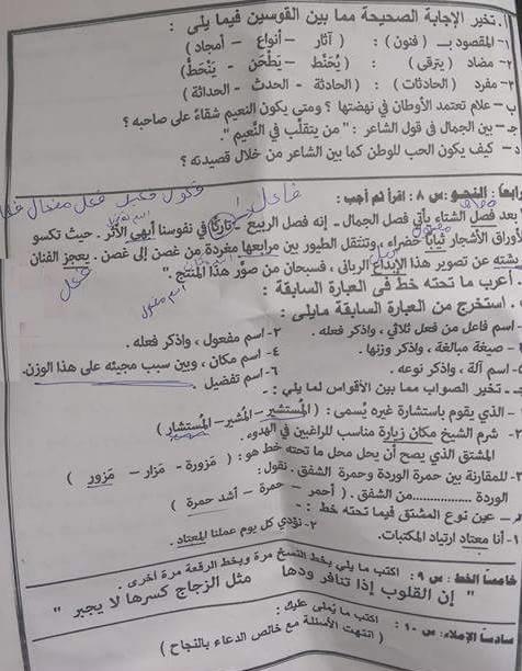 ورقة امتحان اللغة العربية للصف الثالث الاعدادي الفصل الدراسي الثاني 2016 محافظة القاهرة