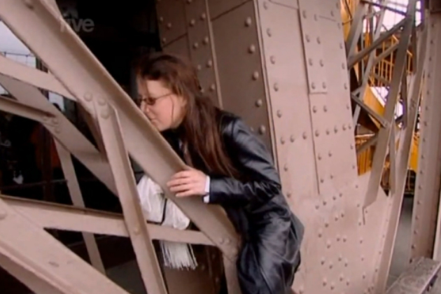 Erica Eiffel got banned from the Eiffel Tower for kissing it and straddling it