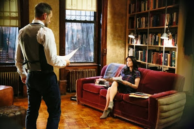 Jonny Lee Miller and Lucy Liu as Sherlock Holmes and Joan Watson in their brownstone in CBS Elementary Season 2 Episode 4 Poison Pen