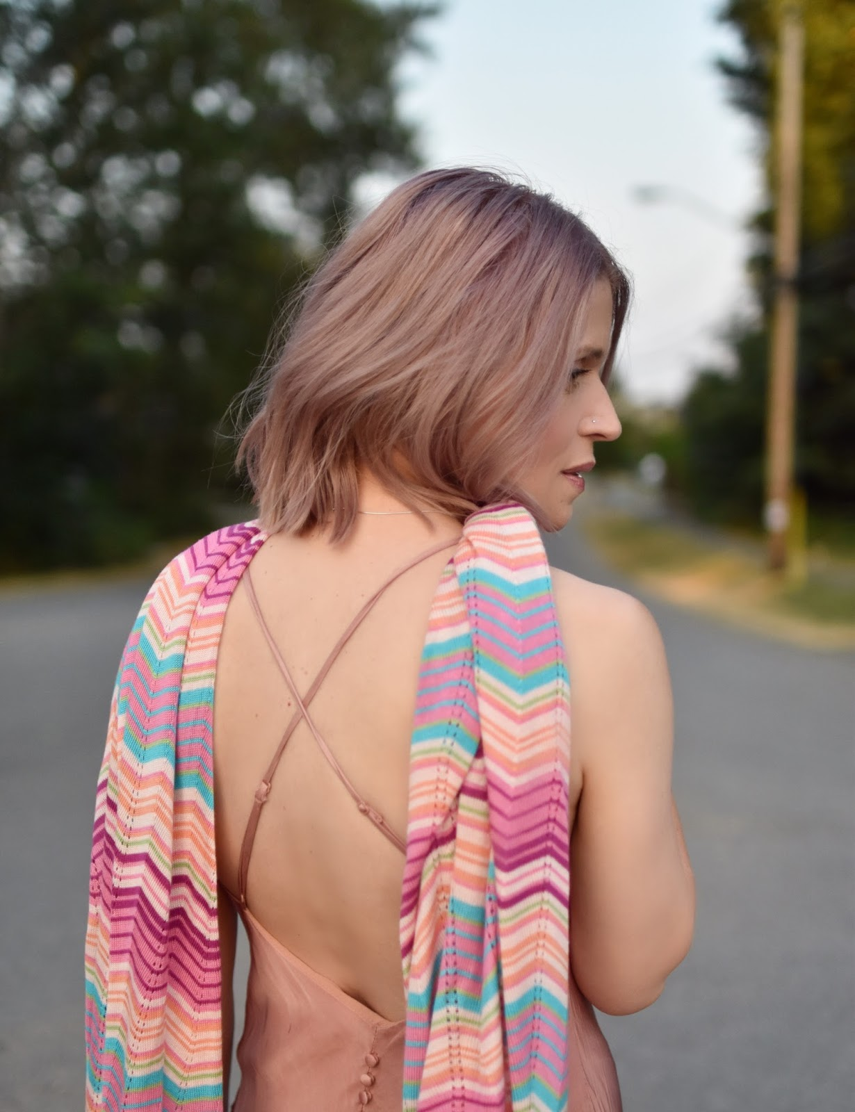 Monika Faulkner personal style inspiration - pink slip dress, Missoni-inspired knit scarf