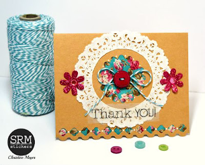 SRM Stickers Blog - Vintage Ribbons on Cards by Christine - #cards #stickers #doilies #twine